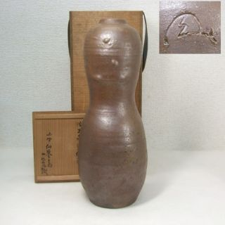 E600: Japanese Old Tanba Pottery Ware Gourd Shape Flowet Vase Which Chokunyu Had photo