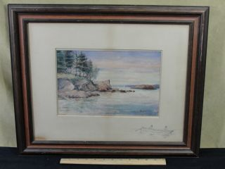 Antique Early 20thc New England Landscape Watercolor Painting Nr photo
