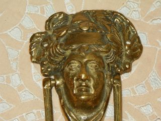Antique Solid Brass Architectural Hardware Goddess Face Door Knocker Home Decor photo