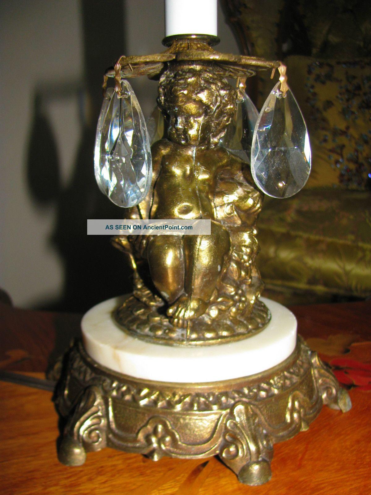 2 vtg french cherub chandelier candelabras crystal table lamp light 2 vtg french cherub chandelier candelabras crystal table lamp light fixtures old arubaitofo Gallery
