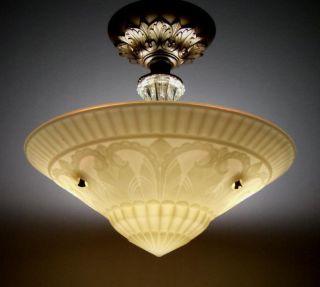 Antique Victorian Art Deco Semi Flush Mount Vintage Ceiling Lamp Light Fixture photo