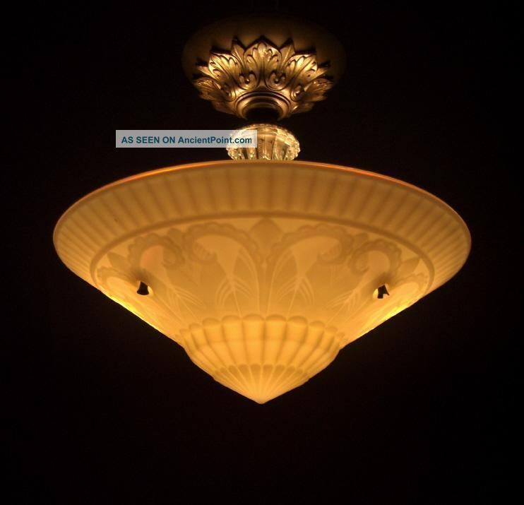 101269 Antique victorian art deco semi flush mount vintage ceiling l  light fixture on art deco furniture reproductions