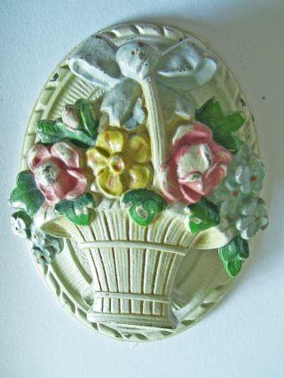 Antique Hubley Cast Iron Flower Basket Door Knocker photo