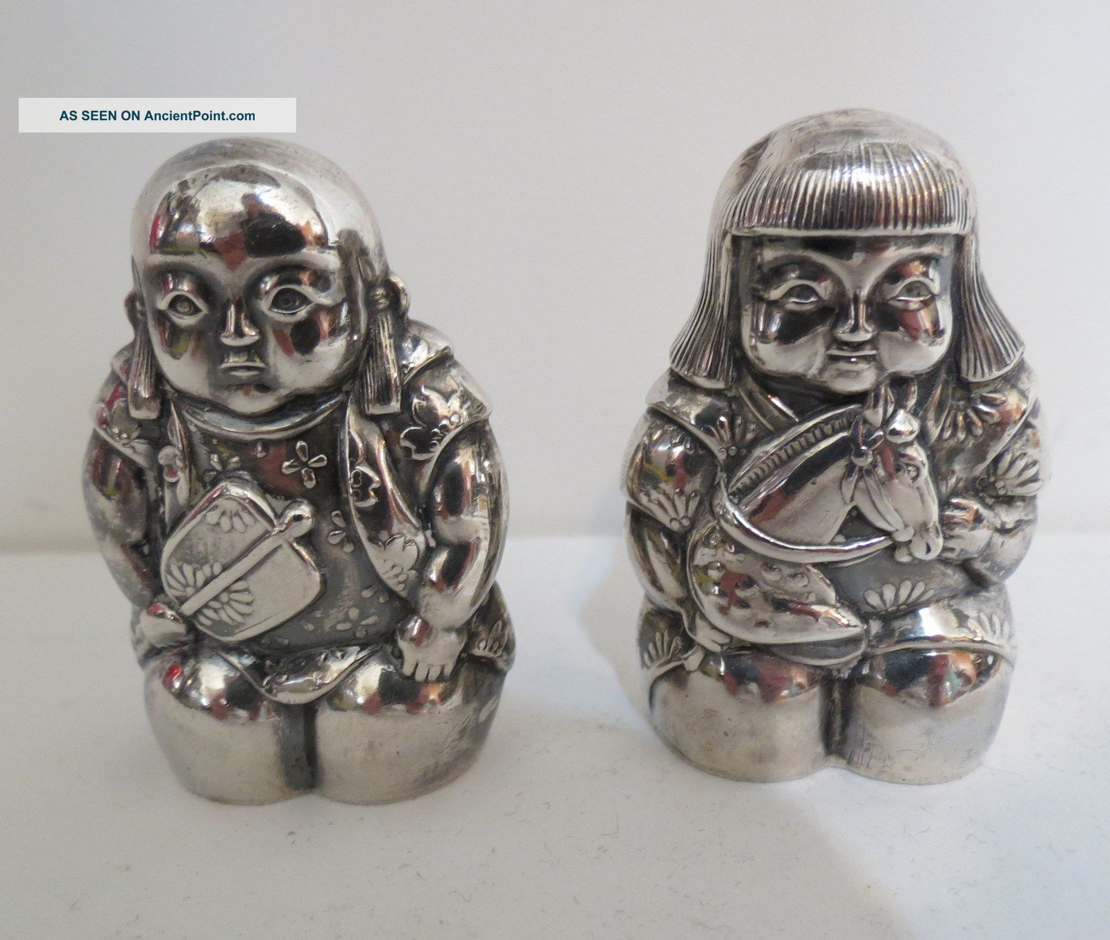 Vintage 950 Sterling Silver Japanese Boy & Girl Salt & Pepper Shaker Set Sweet Asia photo