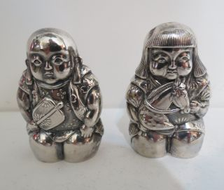Vintage 950 Sterling Silver Japanese Boy & Girl Salt & Pepper Shaker Set Sweet photo