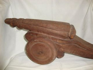 1800s Old Rare Vintage Handmade Wooden Miniature Of Cannon / Tauff photo