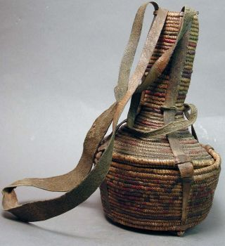 Native Basket Ethiopia E.  Africa Artifact Leather Container Utilitarian Ethnix photo
