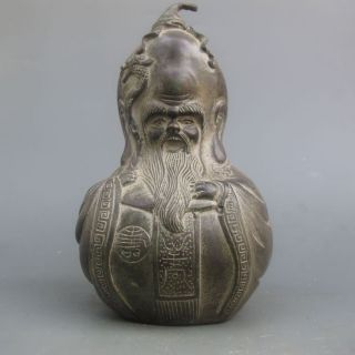 Fine Chinese Bronze Gourd - Shaped Statue Of The Elderly photo