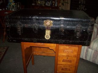 Antique Travel Trunk - Leather - With Inside Removeable Compartment photo