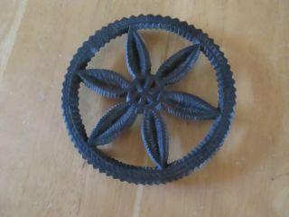 Antique Vtg Wilton Round Pinwheel Cast Iron Trivet Steampunk photo