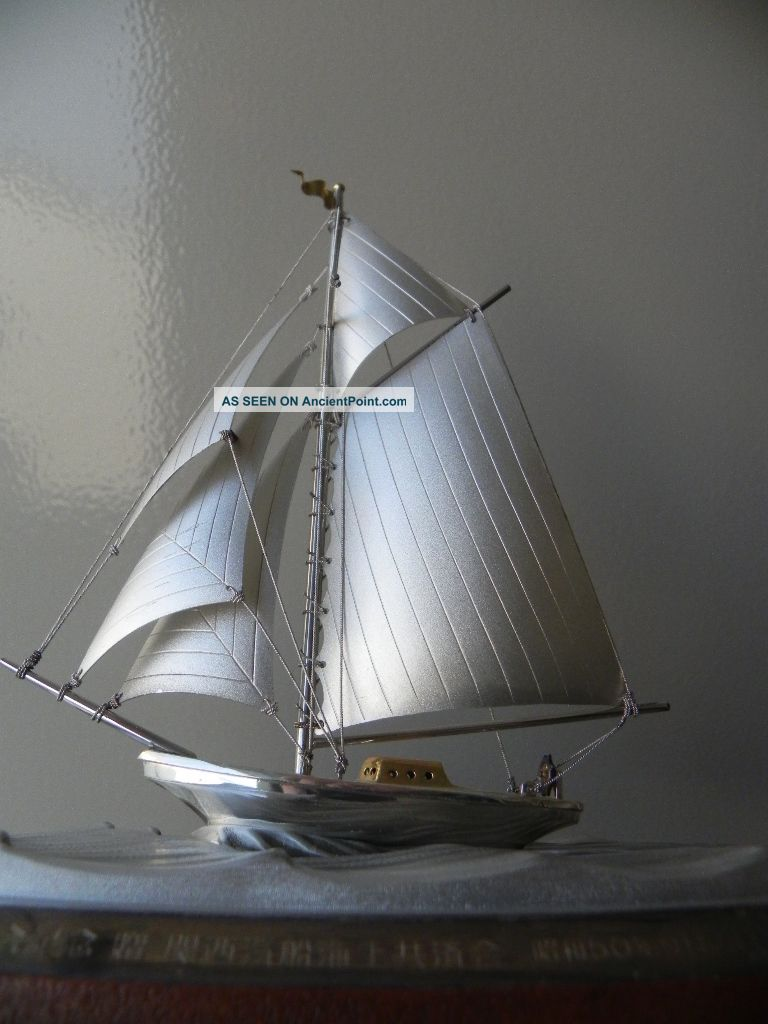 Finest Quality Antique Signed Japanese Sterling Silver Model Yacht Ship By Seki Other photo