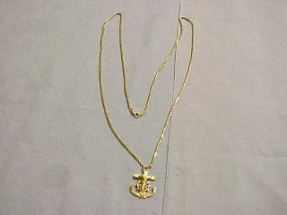 Heavy 10.  9 Gram / 1/3 Ounce 14k Gold Ships Anchor Pendnat & 24