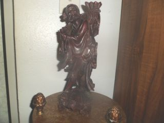 Antique Hand Carved Chinese Hard Wood Statue Sculpture Of Chinese Traveling Man photo