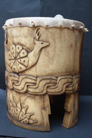 Xxl Huehuetl Drum Mexican Aztec Antique Musical Percussion Ethnic Instrument photo