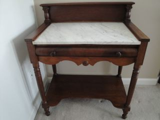 Antique Victorian Era Marble Top Washstand Table - Good Condition/ photo