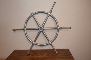 Vintage Metal Navigation Nautical Maritime Boat Ships Steering Wheel Nr photo