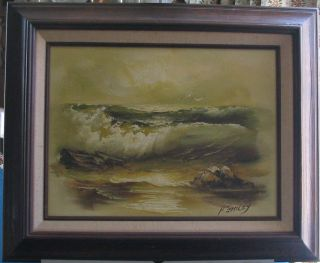 Nautical Vintage Canvas Seascape Signed Oil Painting Rough Ocean Waves Seagulls photo