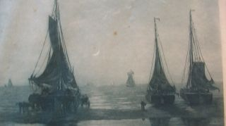 Hendrik Willem Mesdag Etching Signed By R.  Minot