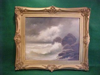 Old Antique Seascape Painting By Thompson Circa 1910 Oil On Canvas Painting photo
