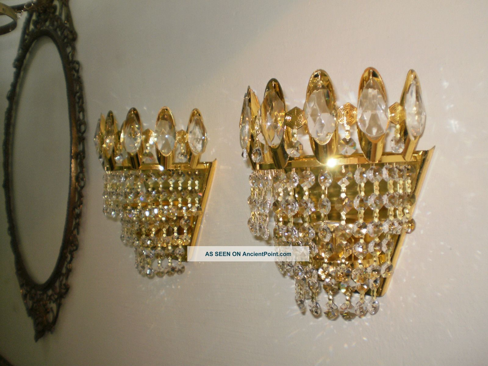 2 Pcs Vintage Antique Brass Crystal Wall Sconce Lighting Unique ...
