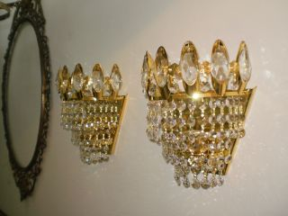 2 Pcs Vintage Antique Brass Crystal Wall Sconce Lighting Unique French 70s photo
