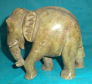 Antique Rare Hand Crafted Marble Stone Decorative Elephant Figure Collectible photo