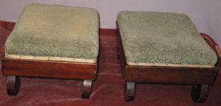 Antique Pair Empire Mahogany Footstools/rests Scroll photo