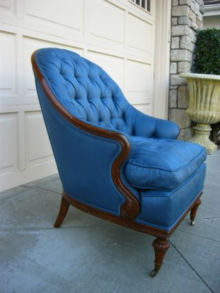 Vintage Blue Tufted Hollywood Regency Style Down Armchair Accent Lounging photo