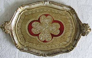 Florentine Gold Gilt Vintage Tole Carved Wood Tray photo