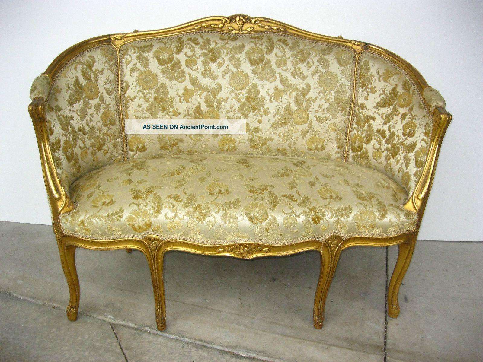 Vintage French Provincial Style Gold Gilt Gold Floral Velvet Fabric