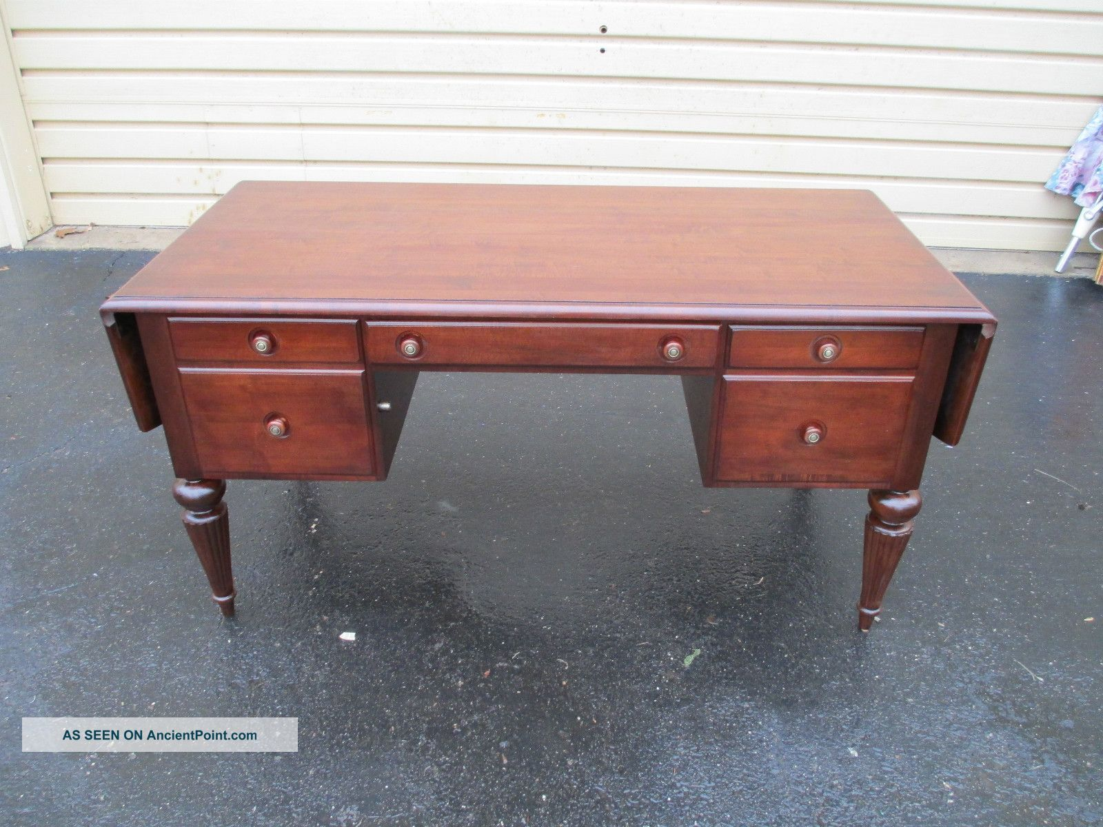 51473 Ethan Allen Cherry Dropside Executive Office Desk Post-1950 photo