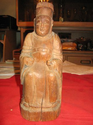 Anitque Chinese Wooden Statue Of Kitchen Goddess photo