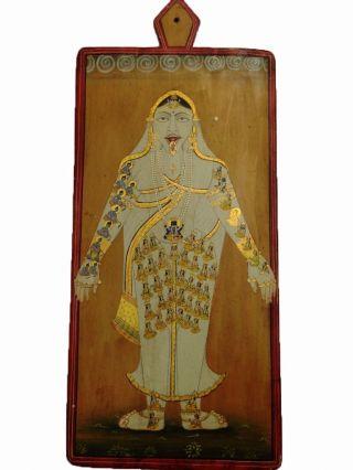 Vintage Gold Work Hindu God Kali Miniature Hand Painting On Wood Panel Gh - 312 photo