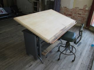 Vintage Drafting Table Old Instant Adj Drawing Table Industrial Midcentury Stool photo