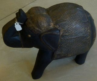 Vintage 1900s Elephant Wood Carved Metal Fitted Up Trunk Animal Good Luck Art photo