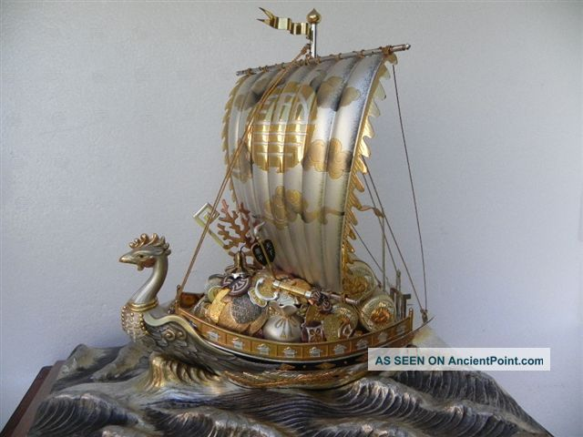Spectacular Signed Japanese Sterling Silver Enamel Phoenix Treasure Ship By Seki Other photo
