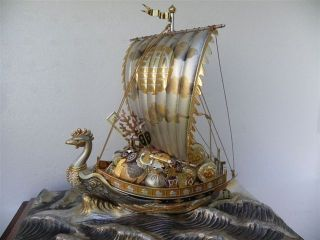 Spectacular Signed Japanese Sterling Silver Enamel Phoenix Treasure Ship By Seki photo