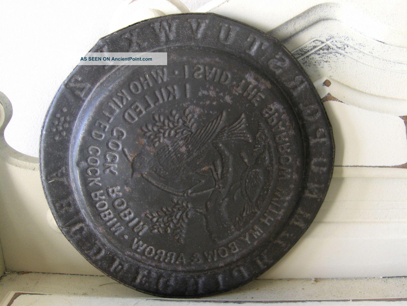 Primitive Antique Tin Metal Child Abc Plate Cock Robin Nursery Rhyme ...