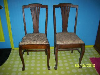 Vintage Antique Estate Set 5 Solid Tiger? Oak Claw Foot Dining Room Chair Chairs photo