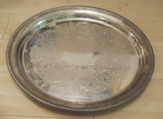 Antique Classic Wm.  Rogers Round Tray Floral Design 12.  5