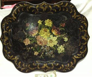 Vintage Fine Art Hand Painted Tole Ware Serving Tray Floral Still Life Flowers photo