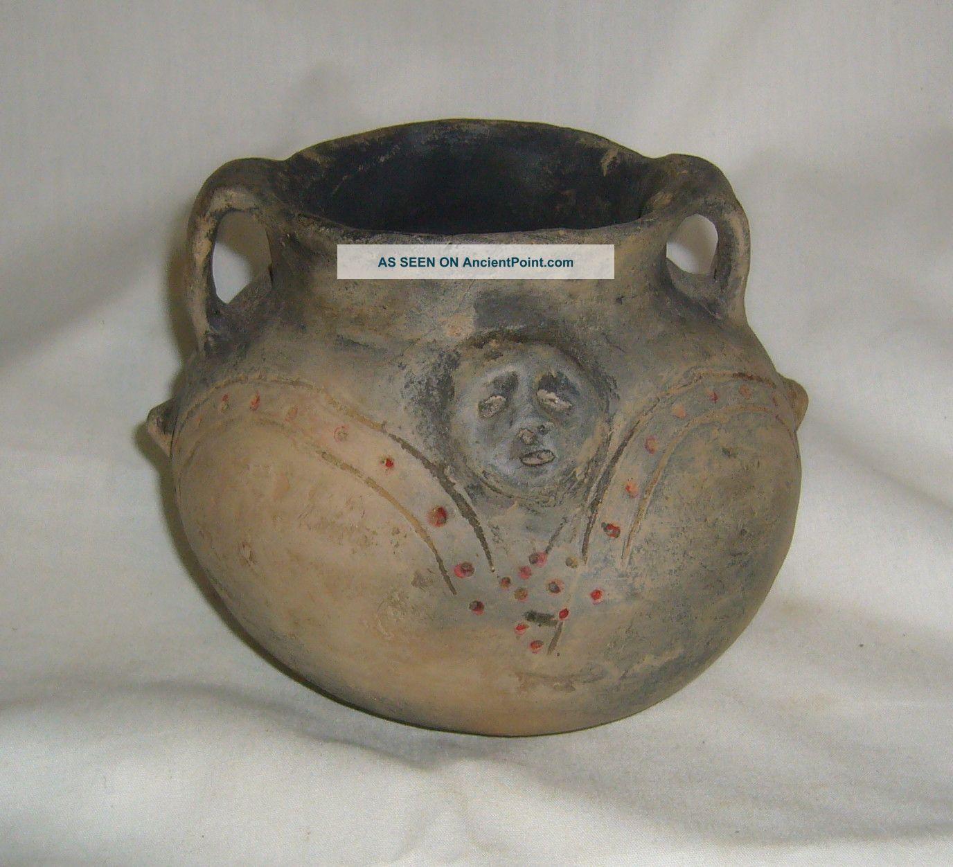 Antique Native American Mississippi Cultural Sphere Primitive Strap Handled Jar Native American photo