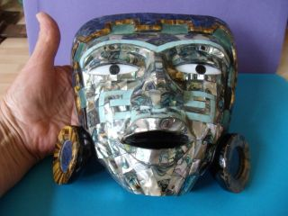 Peruvian Tribal Mask Inlaid With Tigers Eye Lapis - Lazuli And Other Hard Stone photo