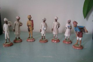 7 Terracotta / Clay Figures Poona Pune District 1880 ? photo