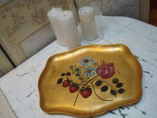 Toleware Tray Stawberries Daisies Signed Gold Background Fruit Motif photo