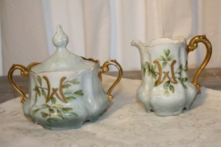 Antique Hand Painted Porcelain Blue Green Sugar Creamer Set Monogrammed W photo