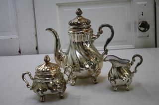 Silver Plate Luster Over Porcelain Tea Set German Rare Antique photo