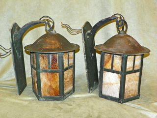 2/antique Arts Crafts Mission Hand Hammerd Copper Slag Wall Sconce Light Wow photo