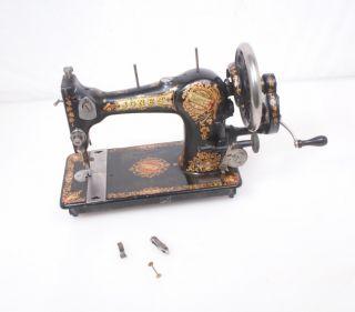 Antique Jones Family C.  S.  Sewing Machine For Repair/parts Hand Crank Treadle photo