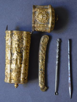 Outstanding Museum Quality C.  1730 Gilt Brass Sewing Kit Etui Implements French? photo